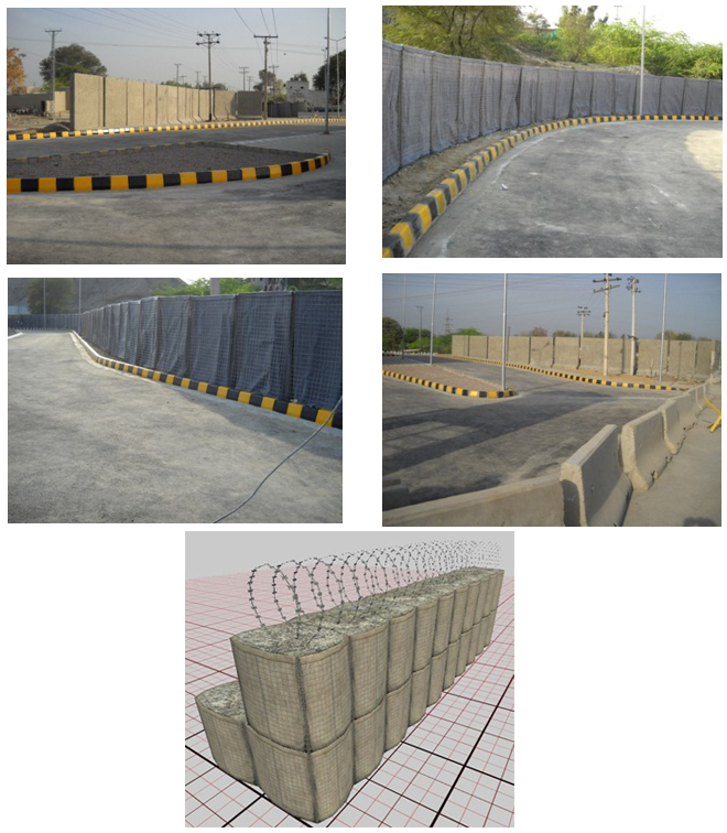 Blast T-Walls, HESCO and New Jersey Barriers